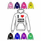 I Love Heart Hoody Customised/Personalised Print, Girls/Boys Hoodies