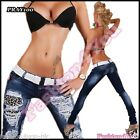 Women's Jeans Skinny Slim Ripped Ladies Trousers with Belt Size 6,8,10,12,14 UK