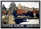 Central Europe via Harwich, Prague. LNER Vintage Travel Poster by Frank Newbould