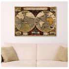 HUGE Canvas Old Vintage World Map poster decor repro reproduction art fine art