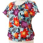 Croft & Barrow Women's Plus Floral Smocked Peasant Top~ Sizes 1X,2X,3X~ $34~NWT