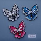 2 X IRON ON BEADED BUTTERFLY MOTIFS 65mm x 62mm approx