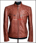 SR02 Tan Waxed New Men's Casual Vintage Retro Real Cowhide Washed Leather Jacket