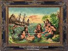 MERMAIDS Primping SHIPWRECK OCEAN SEA TROPICS Lagoon Nautical  Antique ART PRINT
