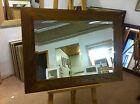 "NEW LARGE 4"" FLAT MEDIUM OAK STAINED SOLID OAK FRAMED OVERMANTLE WALL MIRRORS"