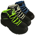 Boys Location Leather School Hiker Ankle Boot Black Boots Kids Shoes Size UK