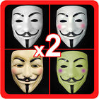 New 2 (Pair) V for Vendetta Masks Guy Fawkes Anonymous Mens Costume Collectors