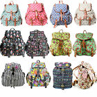 Designer Vintage Multi Colorful Stripe Owl Print Backpack Women Rucksack Bag