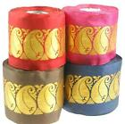 Neotrims Indian Gold Metallic Paisley, Wide Ribbon 55mm, Red, Pink, Blue & Brown