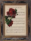 "Antique SHEET MUSIC ""Your Heart's A Red Red Rose"" Vintage RED ROSES Art Print"
