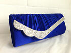 NEW ROYAL BLUE  DIAMANTE SATIN EVENING CLUTCH BAG PROM WEDDING HANDBAG