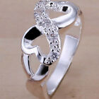 Size 6-10 Silver Ring Infinity Heart Wedding Engagement Promise Propose Cocktail