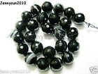 Natural Black with Stripe Onyx Gemstone Faceted Round Beads 15.5