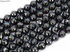 Natural Black with Stripe Onyx Gemstone Faceted Round Beads 15.5'' 6mm 8mm 10mm