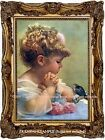 Spring Robin Bird Singing to LITTLE Blonde GIRL Antique Victorian Vtg. ART PRINT