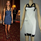 Sexy Bandage Bodycon Dress Evening Cocktail Prom Party Dress White/Blue XS S M L
