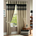 HARVARD CHARCOAL GREY STRIPE READYMADE RINGTOP EYELET LINED CURTAINS ALL SIZES