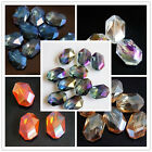 Wholesale 9 Colors Faceted Polygon Hexagon Glass Crystal Loose Beads 13X18mm