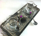 Turkish LOVELY Tea Cups,Plates,Spoons,Sugar Bowl,Tray,Glass,Zamak,Silver Colour