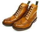 Loake Bedale Leder Stiefel Schuh Boot Rahmengenähte Budapester whisky/hell braun