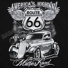 Route 66 Americas Highway T-Shirt Black Mothers Road Cars Wings BABA