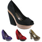 NEW WOMENS PEEP TOE COURT PLATFORM EVENING BLOCK HIGH HEEL LADIES SANDALS SHOES