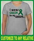 "Customize Ladies V-Neck ""I Wear Green for my Grandpa"" Liver Cancer Shirt SM-2XL"