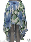 NEW Ladies Skirt Floral Print Dip Back Hem Lined Blue Green Womens Size 8 10 12