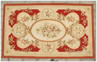 RED IVORY CREAM w PINK ROSE French Aubusson Area Rug FREE SHIP! ~ Many Sizes!