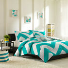 MODERN REVERSIBLE BLUE GREY AQUA TEAL CHEVRON STRIPE SPORT SOFT COMFORTER SET image