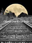 Railroad Tracks to the Moon Matted Picture Home Art Interior Room Decor A256