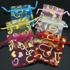 6 Colors Picked Golden Hearts Organza Wedding/Jewelry/Gift Favor Pouch Bag 7x9cm