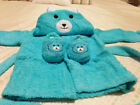 BEAR BABY BATHROBE & SLIPPERS SET KID SHOWER TOWEL GIFT FOR AGE 0 1 2 3 4 5