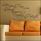 LARGE WALL QUOTE LOVE FAMILY FUN NEVER ENDS FRIENDS STICKER  DECAL TRANSFER