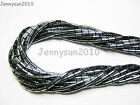 Natural Hematite Gemstone Tube Beads 16'' Strand 2mm x 4mm 3mm x 5mm 4mm x 8mm