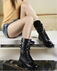 hot Ladies Black Punk Belt buckle Lace Punk boots motorcycle rivet boots shoes