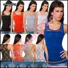 Sexy Womens Lace Top Ladies Summer Casual Stretchy Vest Top One Size 8,10,12 UK