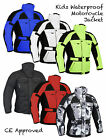 Kids Childrens Waterproof CE ARMOURED Motorcycle Motorbike Cordura Jacket