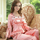 Women Silk Pajamas Pajama PJS Sleepwear Set U.S.S,M,L 6,8,10,12 Long Sleeves