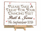 Personalised Dancing Feet Flip Flop Wedding Metal Vintage Shabby Plaque Sign