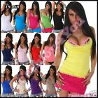 Summer Top Sexy Women's Ladies Casual Fit Lace Vest Top ONE SIZE 6,8,10,12 UK