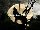 Wolf and Crow against the Full Moon Matted Picture Art Print A388