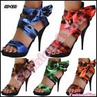 High Heels Strappy Shoes Sexy Women's Ladies Sandals Textile Size 3,4,5,6,7 UK