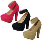 NEW WOMENS LADIES FAUX SUEDE STRAPPY PLATFORM BUCKLE BLOCK HEEL COURT SHOES SIZE