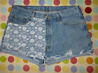 CUSTOMISED LACE VINTAGE LEVI DENIM SHORTS SIZE 10/12/14/16/18 HIGH WAIST