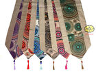"SATIN w/Multicolor Jacquard-weave CIRCLES style Decor Table Runner 78X13"" YBS403"
