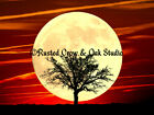 Tree against Full Moon and Red Skies Matted Picture Art Print A484