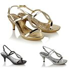 WOMENS LADIES WEDDING EVENING PROM PARTY SHOES MID HEEL DIAMANTE SANDALS