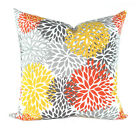 Floral Outdoor Pillow, Blooms Citrus Outdoor Throw Pillow in Orange, Grey Yellow