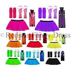 3 LAYER NEON TUTU SKIRT & BRACES LEG WARMERS GLOVE FANCY DRESS TUTU UV HEN PARTY